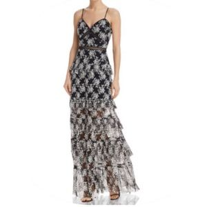 Aqua Dresses Black & White Floral Maxi Gown